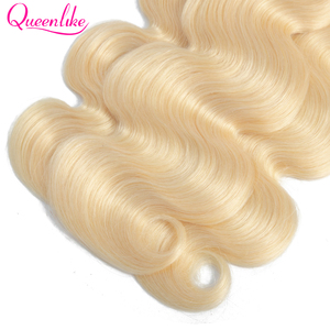 Image 5 - Queenlike Color 613 Brazilian Body Wave Remy Human Hair Bundles With Frontal Light Honey Blonde Bundles With Closure