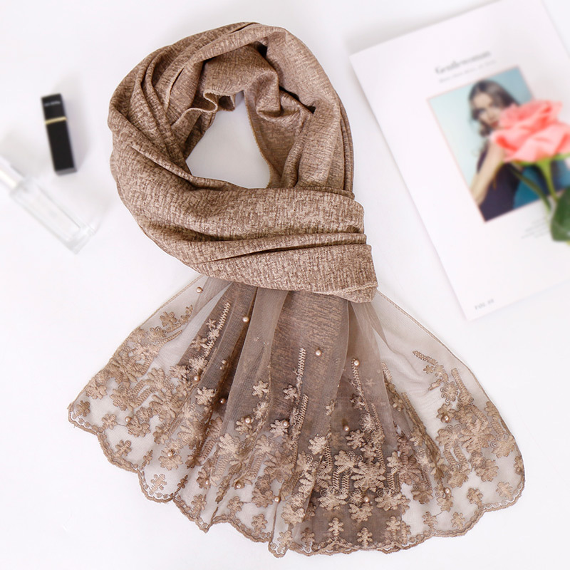 Fashion 2020 New Spring Winter Scarves For Women Shawls And Wraps Lady Plain Lace Floral Pashmina Headband Muslim Hijab Stoles