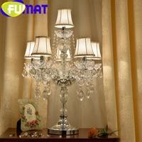 FUMAT Transparent Crystal Desk Lamps E14 LED Bulbs Table Light Gold luxury Decorative European Style Fabric Shade Lights