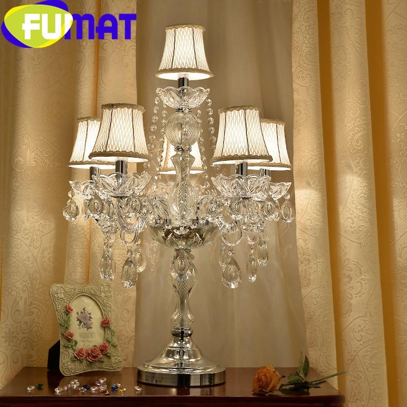 FUMAT Transparent cristal lampes de bureau E14 ampoule LED Table lumière or luxe décoratif Style européen tissu ombre lumières