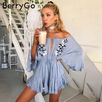 BerryGo Off Shoulder Floral Embroidery Jumpsuit Romper Women Sexy V Neck Drawstring Short Playsuit Casual Beach