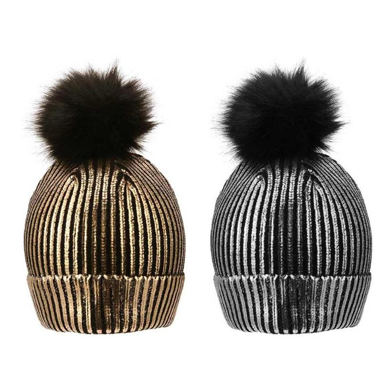 Winter Sparkly Bronzing Color Hats For Women Girls Gold Silver Pompon Caps Hat For Female Winter Knitting Warm Hairball Hat