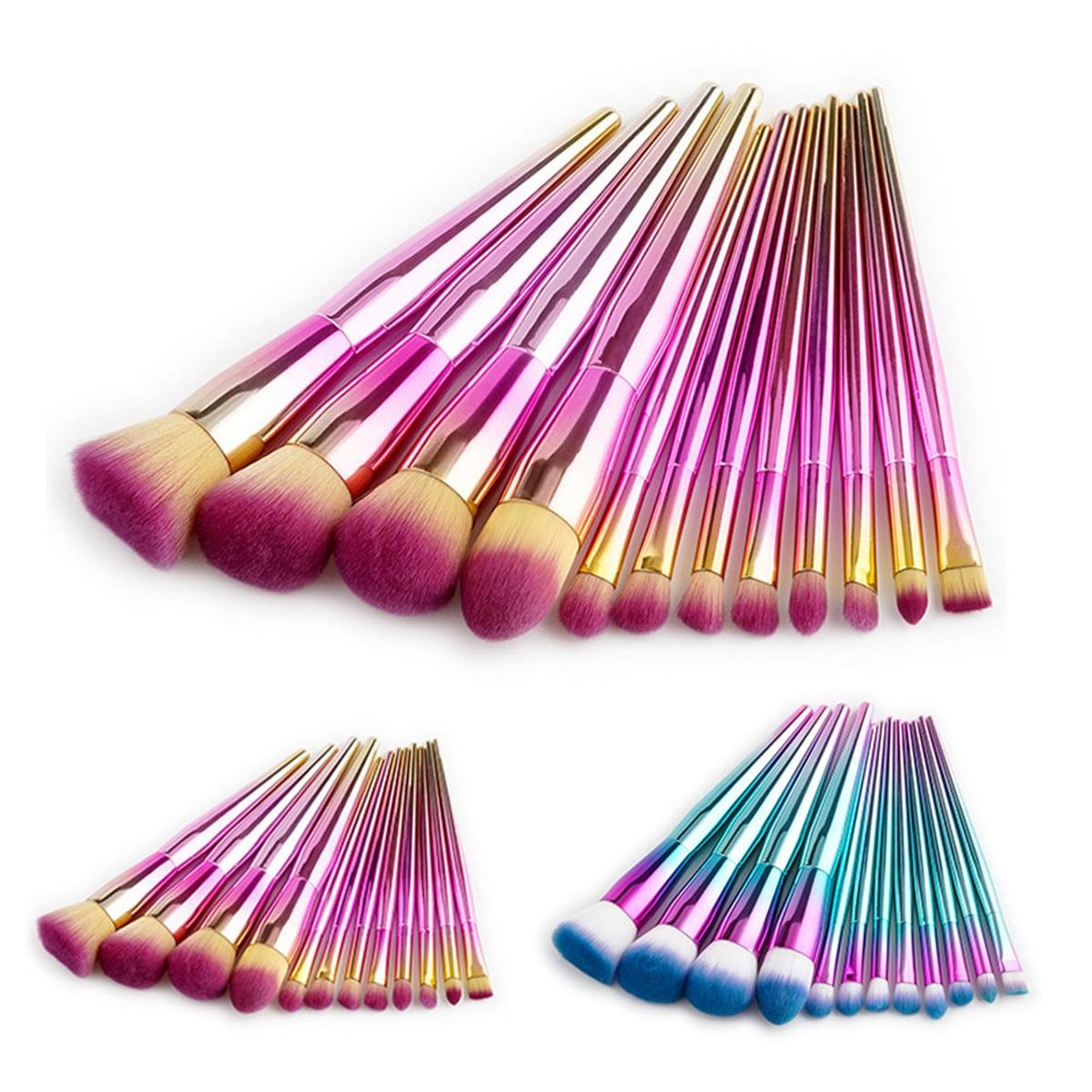 12 Pcs Professional Makeup Brushes Pink/blue Gradient Cosmetic Tools Foundation Scatter Powder Eyeshadow Blush Make Up Brush Kit стоимость