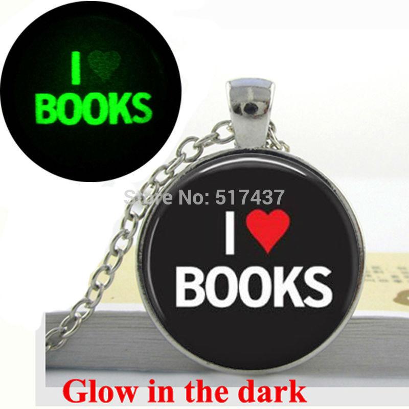 Glow in the dark Necklace Pendants,I Love Books Necklace Book Lover Gifts,Quote Necklace Glass Art Photo Glowing Jewelry