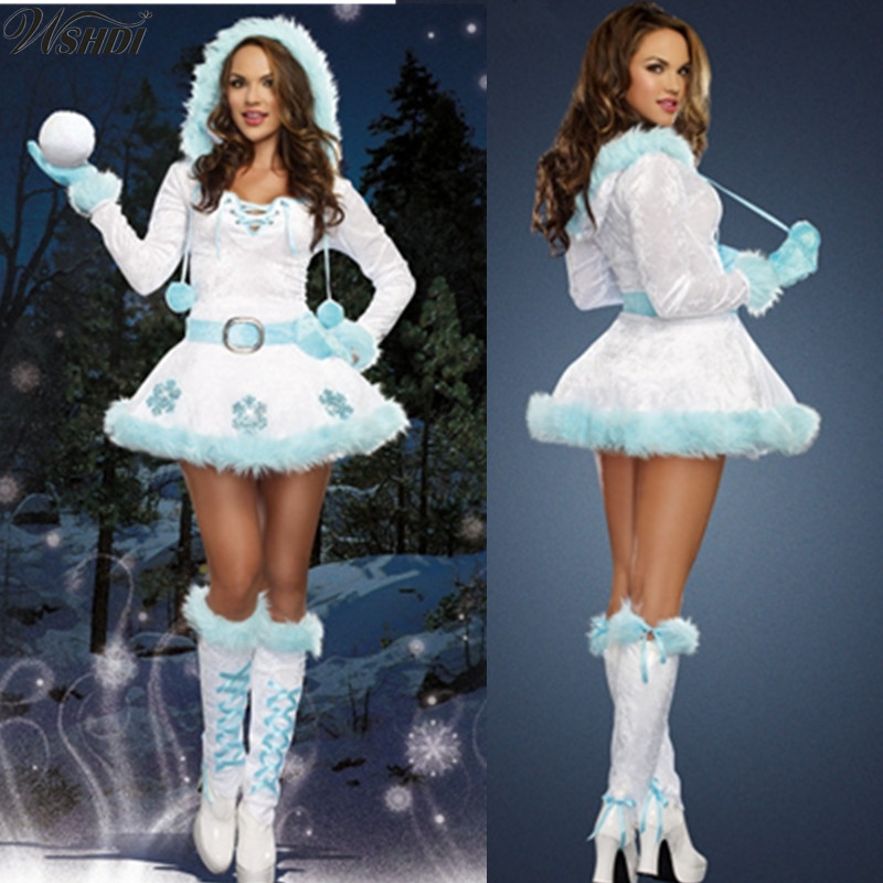 Luxury Sexy Dreamy Snow Maiden Christmas Princess Costumes Women Adult Santa Claus Costumes Christmas Party Fancy Dress Cool In Summer And Warm In Winter