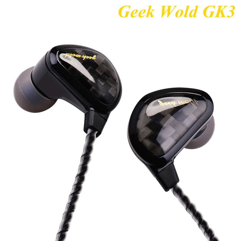 Original Geek Wold GK3 Earphone Wired Headphones Dynamic Driver Unit 3.5mm HiFi Stereo Heavy Bass Headset Without Microphone tebaurry tb6 dual unit driver earphone wired hifi stereo earphone for phone iphone 4 speakers super bass headset with microphone