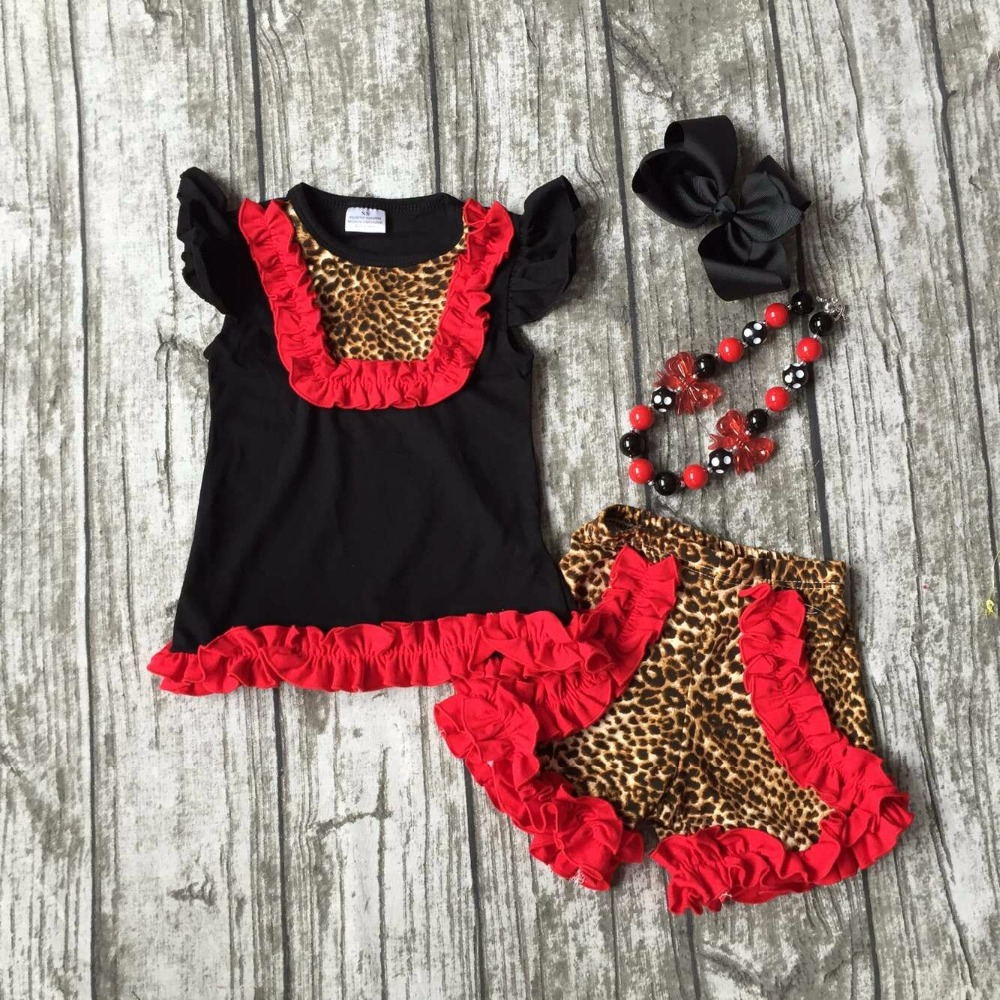new arrival Summer outfit baby girls cute clothes red black leopard cotton ruffles kids shorts set baby kids with accessories silver gold crystal rhinestones women evening clutch bag bridal wedding clutches party dinner prom chain shoulder handbag purse