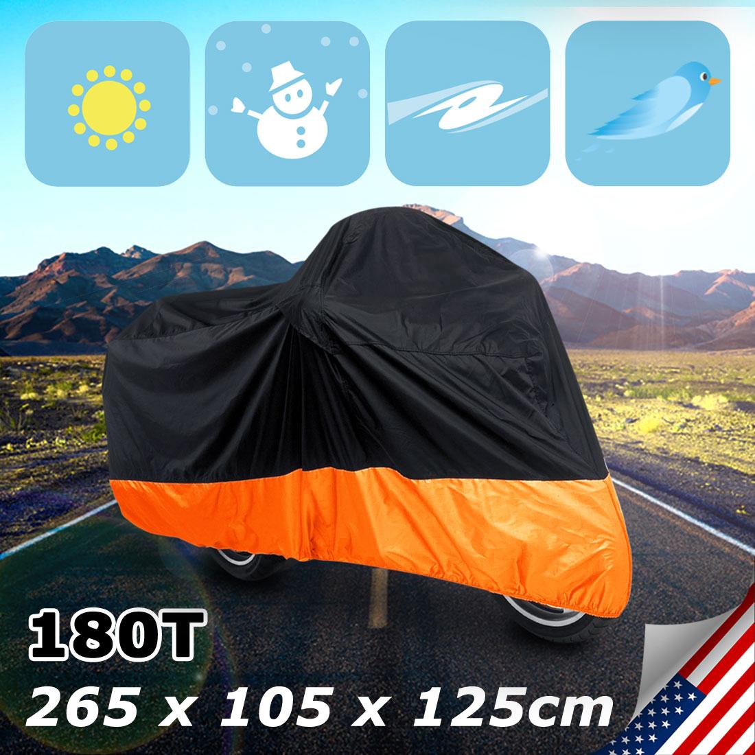 UXCELL Xxl 180T Rain Dust Motorcycle Cover Black+Orange Outdoor Waterproof Uv Protector