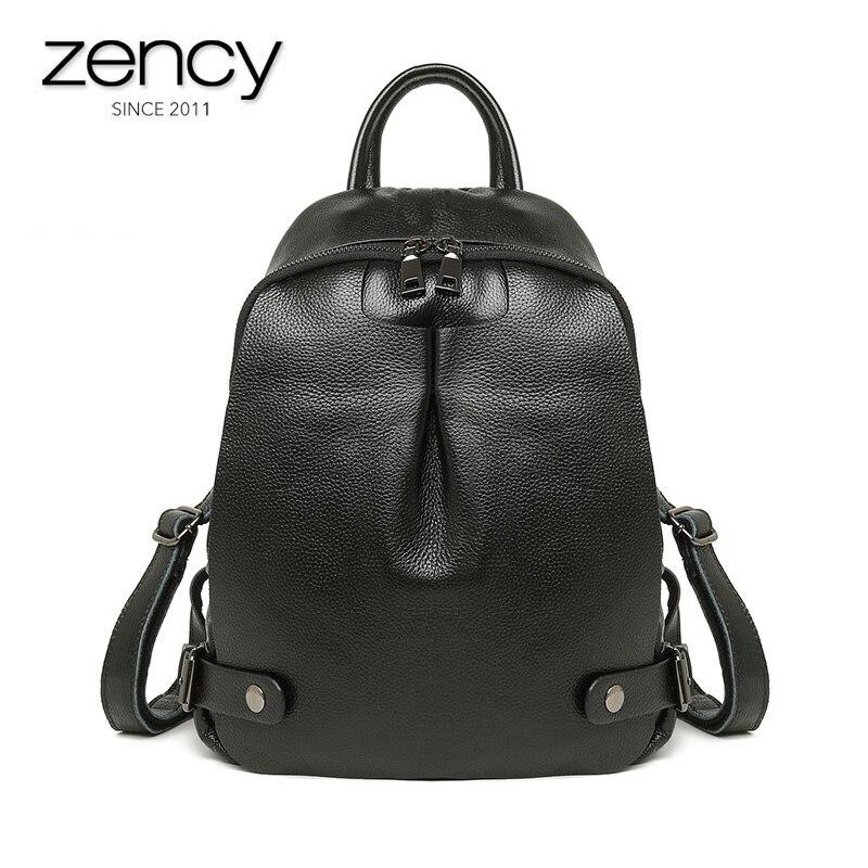 Genuine Leather Women's Notebook Backpack Shoulder Bags Girl's Summer Schoolbag Purse For Women Leather Ladies Laptop Travel Bag