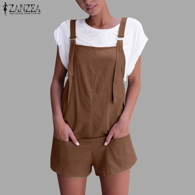236ebc59f9 2018 ZANZEA Women Summer Strappy Solid Jumpsuits Casual Short Rompers  Cotton Linen Dungarees Beach Party Pants Bib Overalls-in Rompers from Women s  Clothing ...