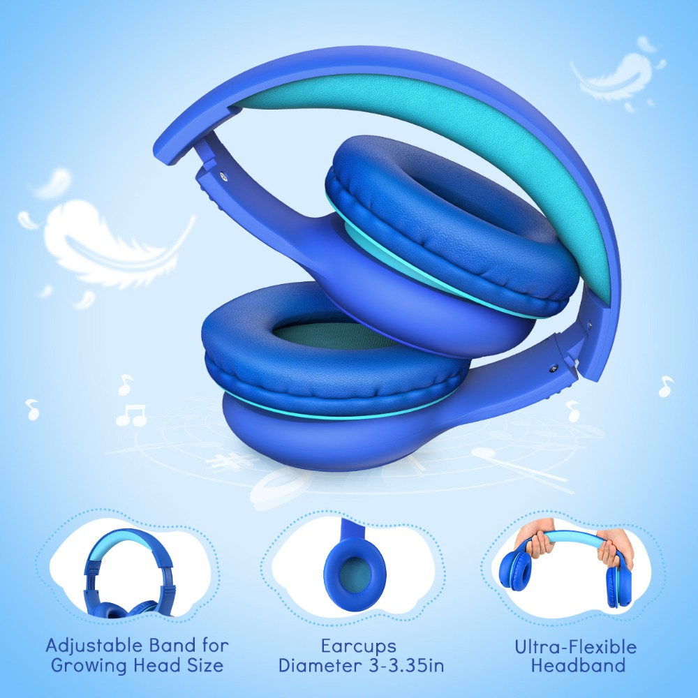 Mpow CH6S Wired Headphones For Kids With Microphone Max 85dB Food Grade Material Over-Ear Kids Headphones For iPad Kindle Phones