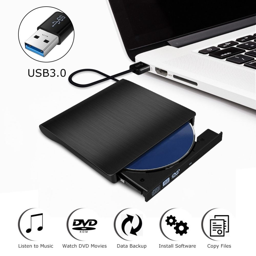 <font><b>USB</b></font> <font><b>3.0</b></font> External <font><b>DVD</b></font> CD <font><b>Drive</b></font> Burner Slim Portable Driver For Notebook MacBook Laptop Desktop External Optical <font><b>Drives</b></font> PC image