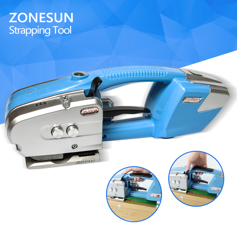 ZONESUN Battery strapping tools, hand held PP PET strapping machine, plastic belt packaging, battery strap width 12-19mm JD16