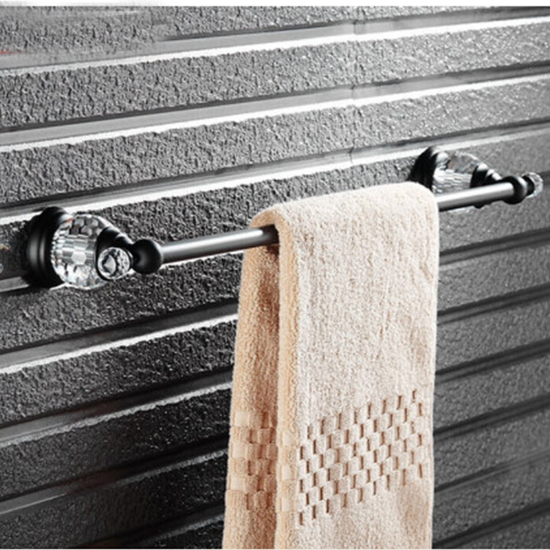 Oil Rubbed Bronze Wall Mounted Bathroom Towel Rack Holder Crystal Hangers NEW bathroom accessory wall mounted black oil rubbed bronze toothbrush holder with two ceramic cups wba451