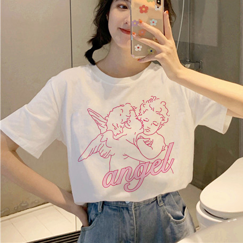 Angel <font><b>Aesthetic</b></font> Kawaii T Shirt Women Harajuku Korean Style T-shirt Ullzang Cute Grunge <font><b>Tshirt</b></font> 90s <font><b>Graphic</b></font> Fashion Top Tee Female image