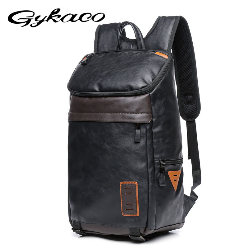 Autumn Winter PU Leather Men Backpack Black Travel Bags Classic Male Laptop Backbag for Teenager College Boy Bag Large Capacity