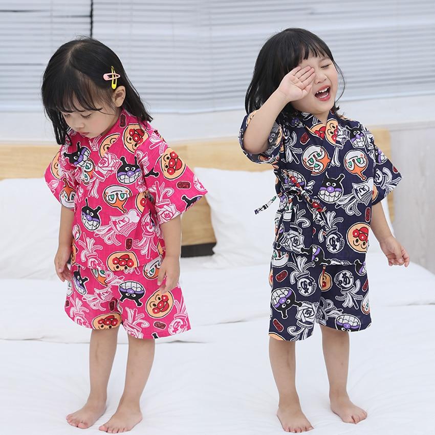 Oriental Japanese Style Traditional Yukata For Kids Girls Pajamas Sleepwear Cotton Comfortable Cute Cartoon Kimono Jinbei Set