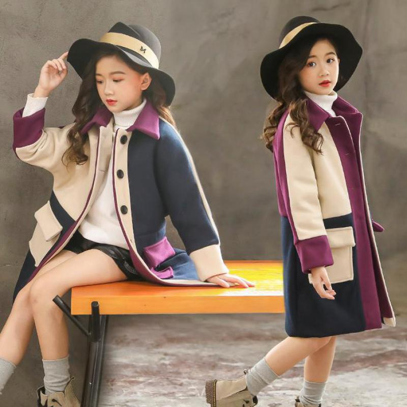 Fashion New Wool Coat for Girls Children Clothing 2019 Winter Baby Girls Clothes Kids Velvet Jackets