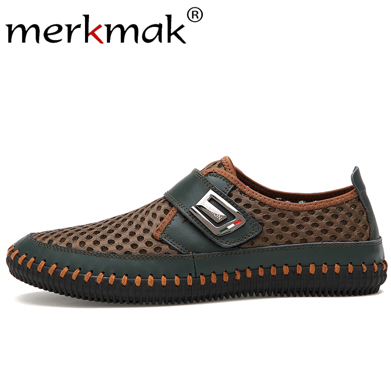 Merkmak Men's Shoes Moccasins Loafers Men Breathable Casual Genuine-Leather Flat Summer