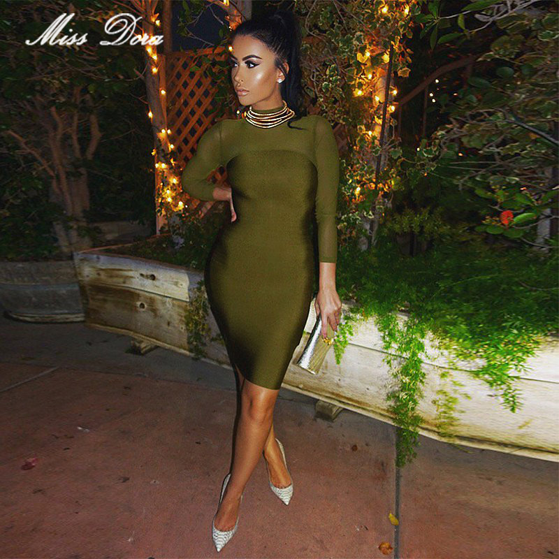 52ea75e3fa Detail Feedback Questions about 2016 new fashion women black olive mesh  high neck Long Sleeve bandage dress Lady Sexy bodycon Party evening party  club ...