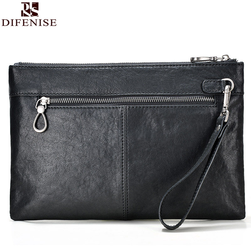 Difenise Brand Designer Plant Vanned cowhide Leather Day Clutches Vintage style men Solid Zipper Mens Envelope