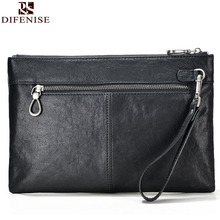 Difenise Brand Designer Plant Vanned cowhide Leather Day Clutches Vintage style men Solid Zipper Mens Envelope handmade Bags