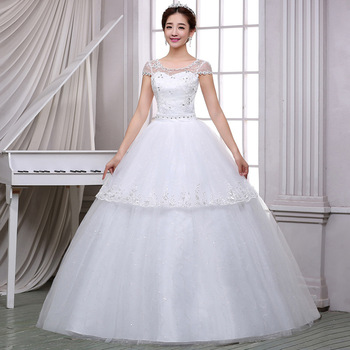 Bridal Dress 2019 Wedding Gowns Ball Gown Simple Illusion Beaded Floral Lace Tulle Sweetheart Cap Sleeve Floor Length White Plus