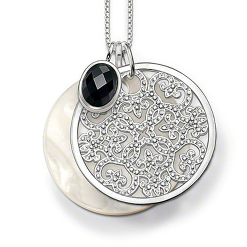 Most Fashion 925 Silver Pendant Necklace Conch Disc White Crystal Hollow Out Creeper Pendant Black Oval Crystal Necklace Jewelry