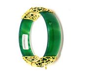 Natural Jade Green White Red Sparkling Women Red 18K Yellow Gold Plated Gemstone Bangle