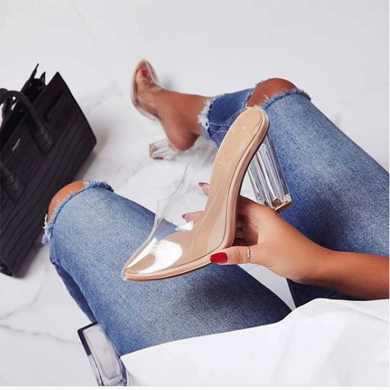 2019 Summer Women 11.5cm High Heels Pointy Mules Transparent PVC Clear Block Hees Slides Female Fetish Slippers Slingback Shoes