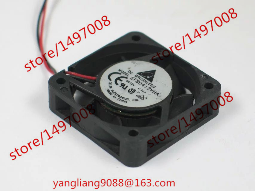 Free Shipping For Delta EFB0412VHA DC 12V 0.23A 2-wire 3-Pin connector 60mm 40X40X10mm  Server Square Cooling Fan free shipping for delta afc0612db 9j10r dc 12v 0 45a 60x60x15mm 60mm 3 wire 3 pin connector server square fan
