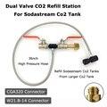 NIEUWE Sodastream Deluxe Dual Valve CO2 Vul Refill Station Opladen Adapter Met 37 Inch Slang CGA320 & W21.8-14 (DIN 477)