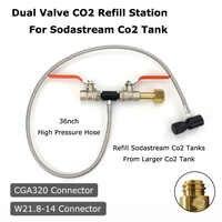 Nouveau Sodastream Deluxe double vanne CO2 remplissage Station adaptateur de charge avec tuyau de 37 pouces CGA320 et W21.8-14 (DIN 477)