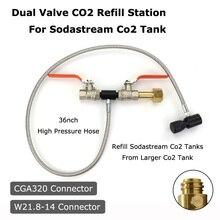 جديد Sodastream ديلوكس ثنائي الصمام CO2 ملء محطة إعادة الملء شحن محول مع 37 بوصة خرطوم CGA320 و W21.8 14 (DIN 477)