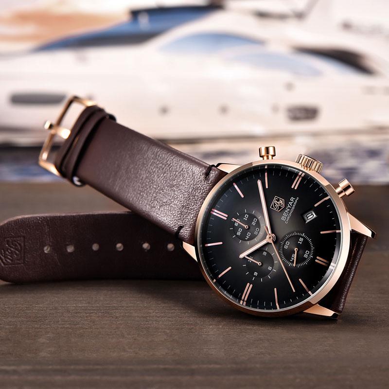 Relojes BENYAR para hombre, relojes de lujo de marca Gold Quartz para hombre, cronógrafo para hombre, reloj de moda de cuero resistente al agua, reloj - 5