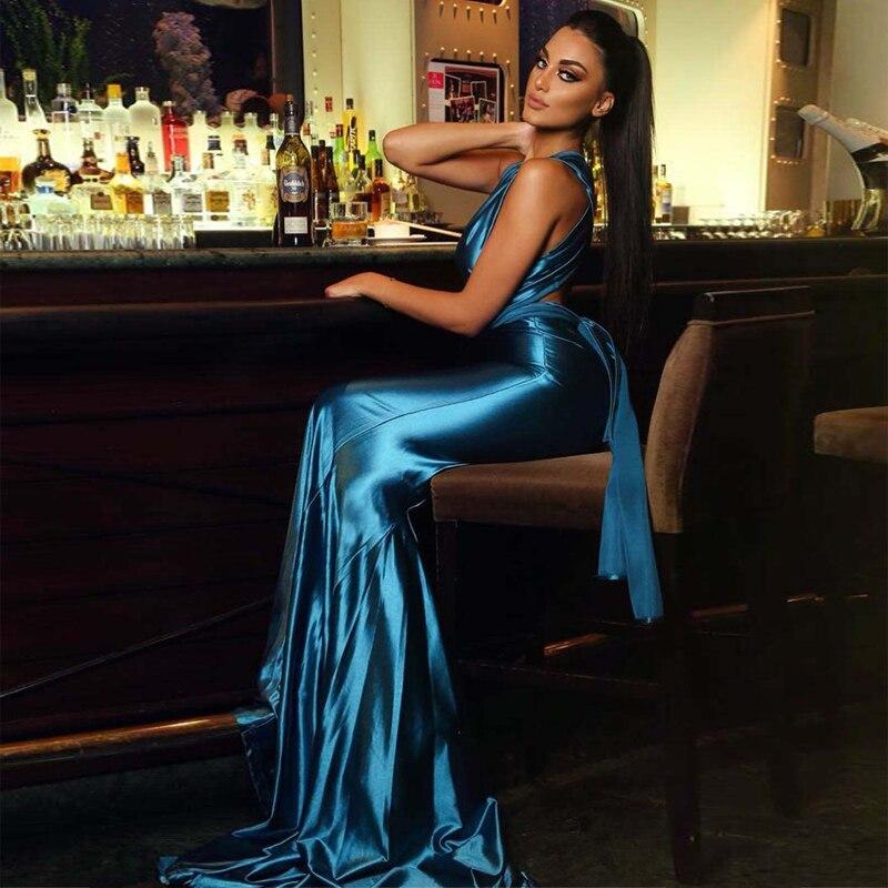 2019 élégant bleu sans manches Maxi Satin soirée robe célébrité Vestidos bonne qualité étage longueur sirène dos nu robes