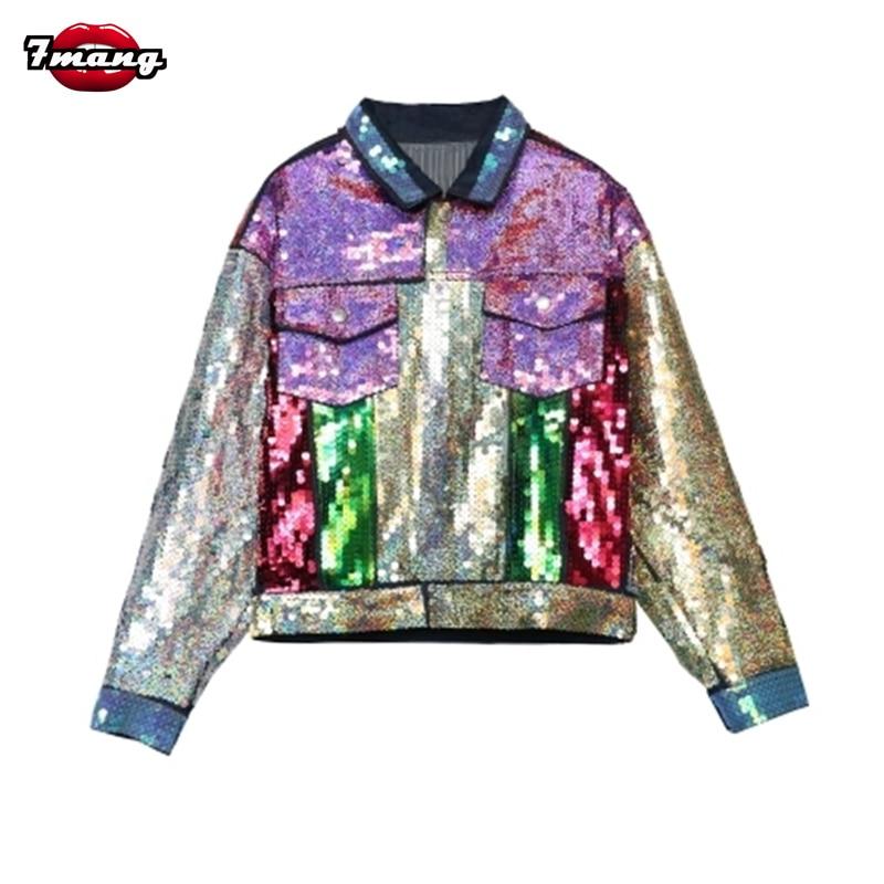 2017 new autumn women street colorful sequins jeans <font><b>jackets</b></font> long sleeve party punk cartoon printing denim coat