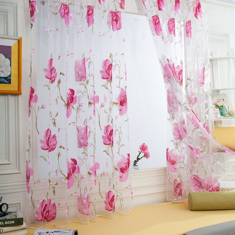 Window Curtains Scarf Valances Drape-Panel Door Tulle Flower-Pattern Sheer Modern Brilliant