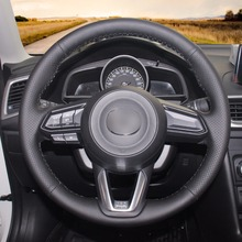 High quality Black Artificial Leather anti-slip customized car steering wheel cover For Mazda 3 Axela 2017 цена и фото