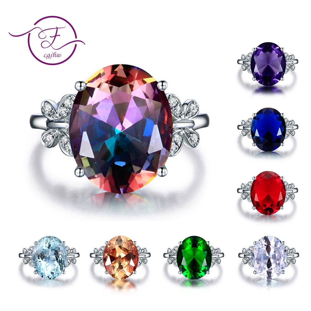 925 Silver Ring Fashion Jewelry Butterfly Design 2018 New Colorful Gemstone Rings For Women Wedding Christmas Gift Wholesale