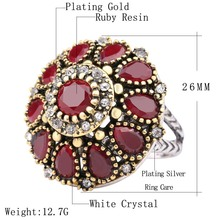Vintage Look Round Flower Turkey Ring Jewelry For Women
