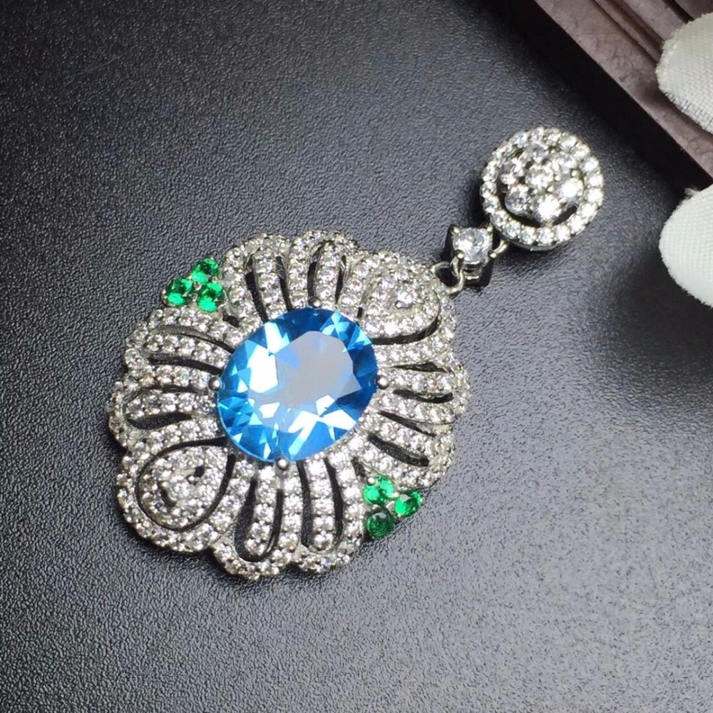 Fine Jewelry Real 925 Steling Silver s925 100% Natural Topaz Gemstone Female Pendant Necklaces Christmas Gift