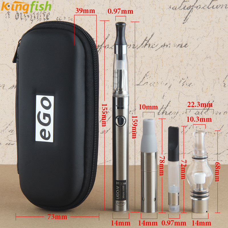 Kingfish 4 in 1 Dry herb vaporizer ugov2 mini kit wax ago Vape pen 650/900/mah ugo v II battery MT3 cbd CE3 atomizer e cigarette