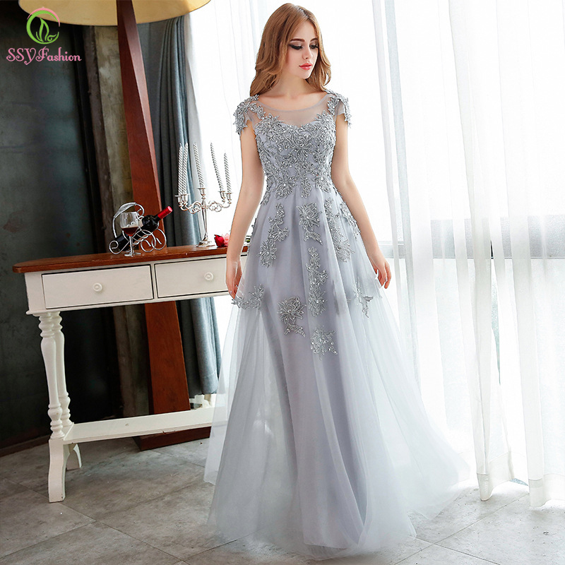 SSYFashion Long Evening Dresses 2017 Grey Lace Embroidery Beading Party Gown Bridal Banquet Elegant Slim Prom Dress Plus Size In From