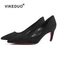 Vikeduo 2019 Новая женская обувь Высокие каблуки Черные замшевые ручной работы Насосы Свадебная вечеринка офис летняя из натуральной кожи Sapato