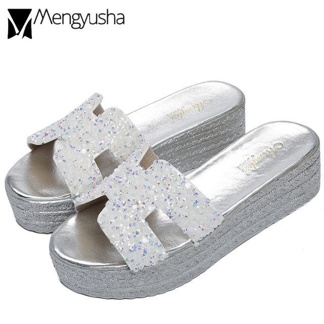 ae04ce4ff5a8 colorful crystal creepers slides pearl studded silver knitted wedges  sandals woman solid plaid platform sandals big size 34-43