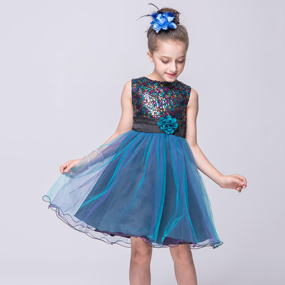 5faf7cc6872 New flower girls dresses for party and wedding sleeveless tulle graduation  dresses kids Sequined blue red girl pageant dresses