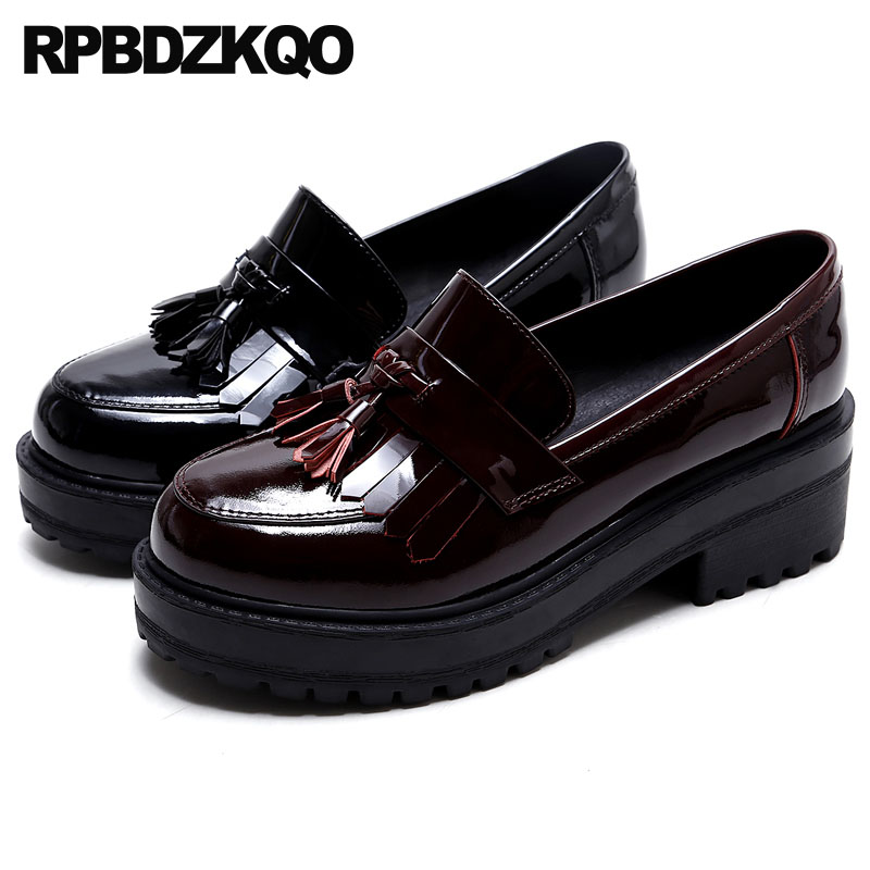 7cdf3600f97 Red Wine Black Tassel Loafers High Quality Women Creepers Platform Shoes  Wedge Thick Sole Elevator Patent Leather Genuine Fringe-in Women s Flats  from Shoes ...