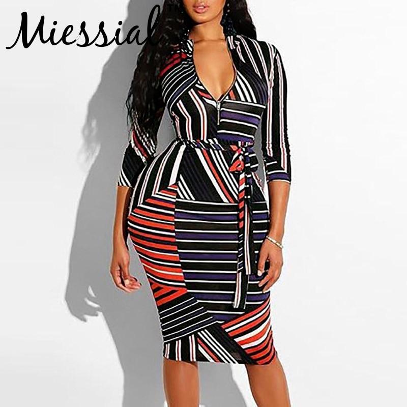 74e470b940 Miessial Printed pathwork stripe sexy bodycon dress Women winter stand  collar zipper midi dress Female christmas dress plus size