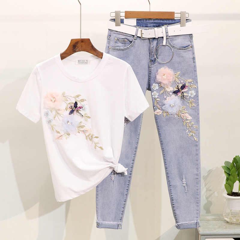 Sommer Eingestellt Mode Stickerei Blume T-Shirt Jeans Hosen Anzug Set Frauen Baumwolle T Shirt Femme Löcher Denim Hosen Frauen Outfits
